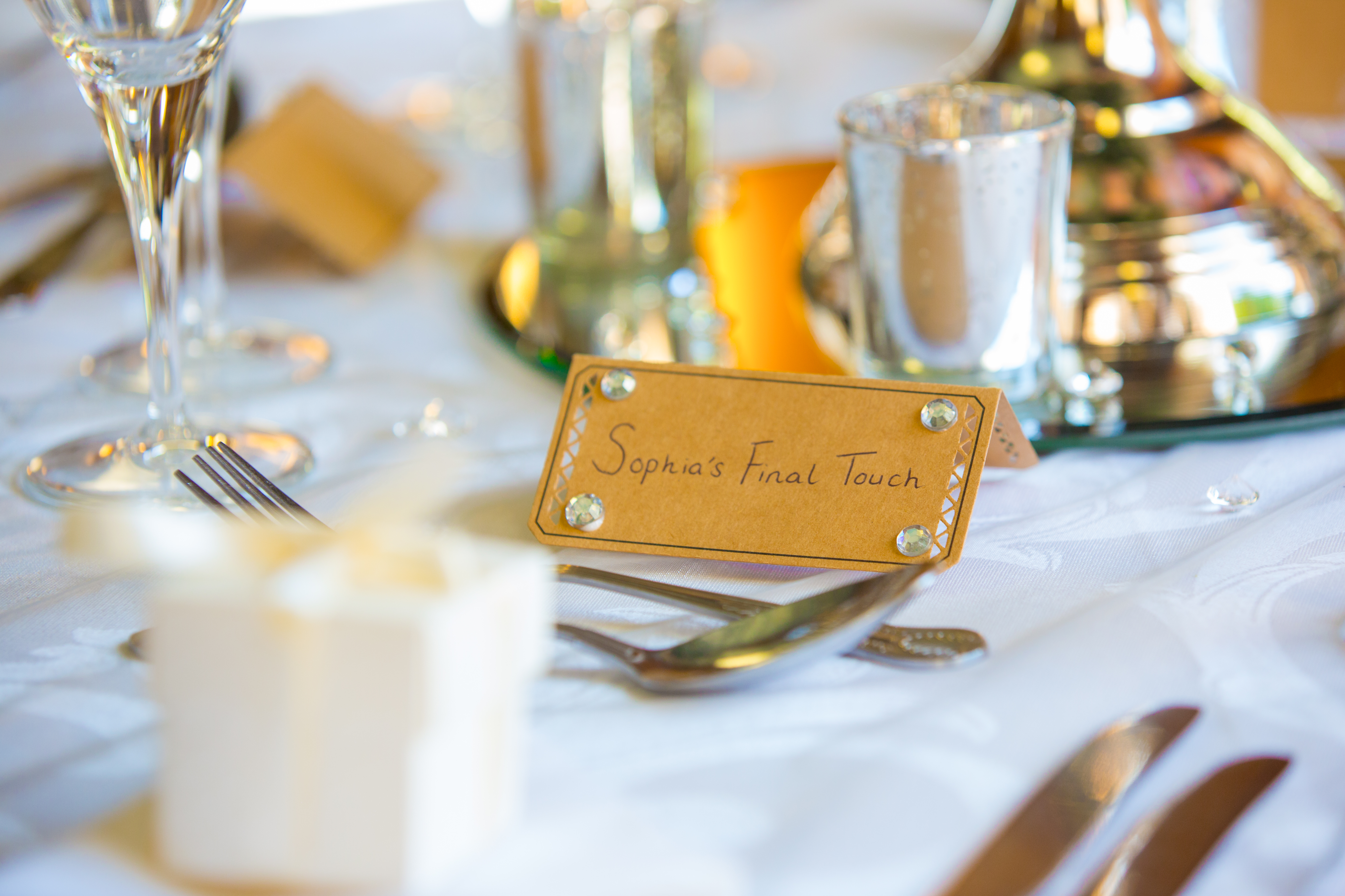 Rustic Place Cards with Gems - Sophia's Final Touch - Venue Styling - Weddings
