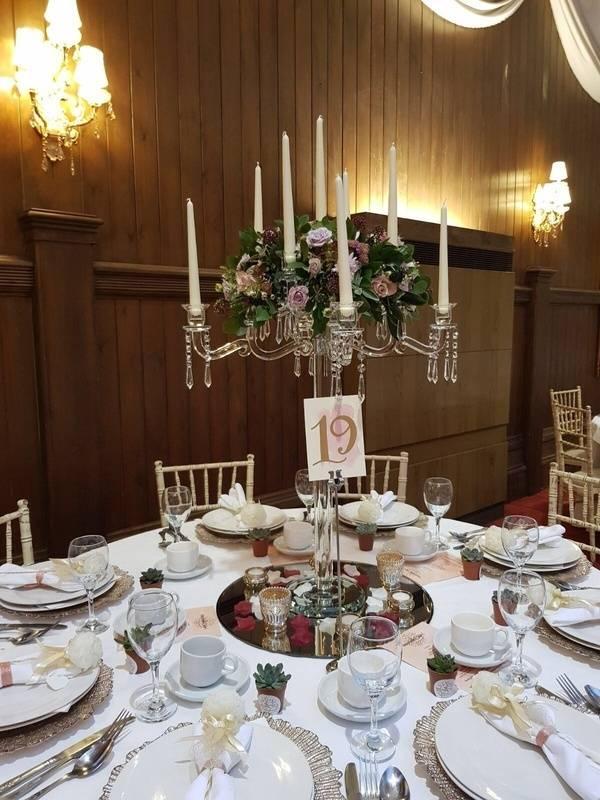 Crystal Candelabra with Fresh flower Top Arrangement- Sophia's Final Touch - Venue Styling - Weddings