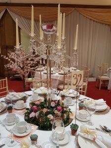 Crystal Candelabra with Fresh Floral Reef and Decor -Sophia's Final Touch - Venue Styling - Weddings