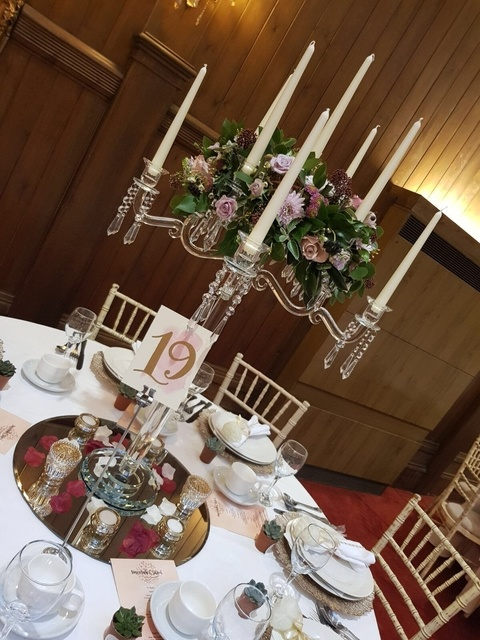 Crystal Candelabra with Fresh Flower Top – Wedding Venue Styling- Sophia's Final Touch