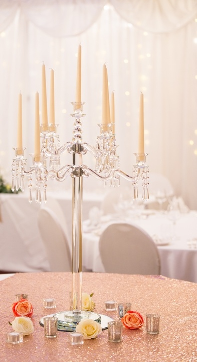 Crystal Candelabra with tall Candles -Sophia's Final Touch - Venue Styling - Weddings