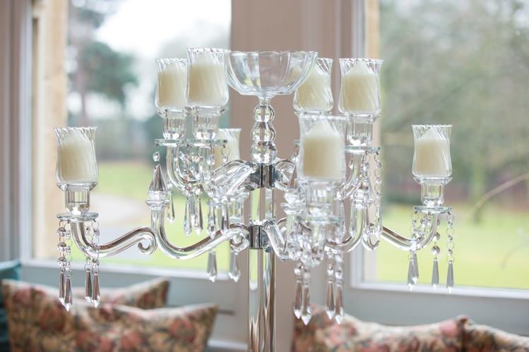 Crystal Glass Candelabra - Low Candles Close Up Sophia's Final Touch - Venue Styling - Weddings