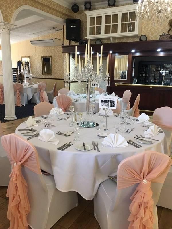 rystal Candelabra with Blush Ruffle Hoods – Wedding Venue Styling- Sophia's Final Touch
