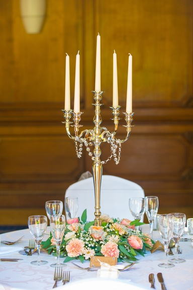 Silver Candelabra with Bottom Flower Reef - Sophia's Final Touch - Venue Styling - Weddings