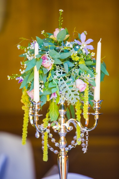 Silver Candelabra with Flower ball - - Sophia's Final Touch - Venue Styling - Weddings