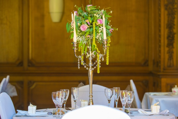 Silver Candelabra with Flower ball top - - Sophia's Final Touch - Venue Styling - Weddings