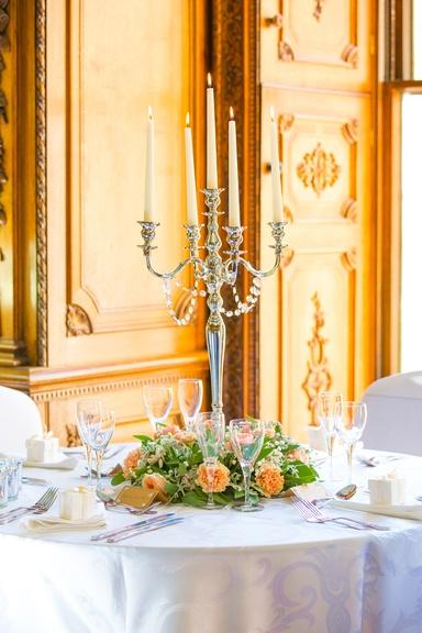 Silver Candelabra with Flower reef- Sophia's Final Touch - Venue Styling - Weddings