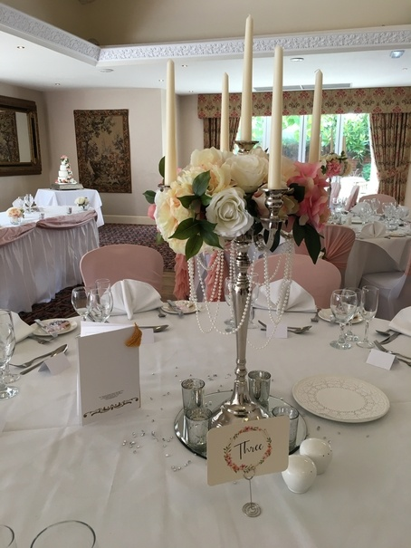 Silver Candelabra with Flowers and Pearls – Wedding Venue Styling- Sophia's Final Touch