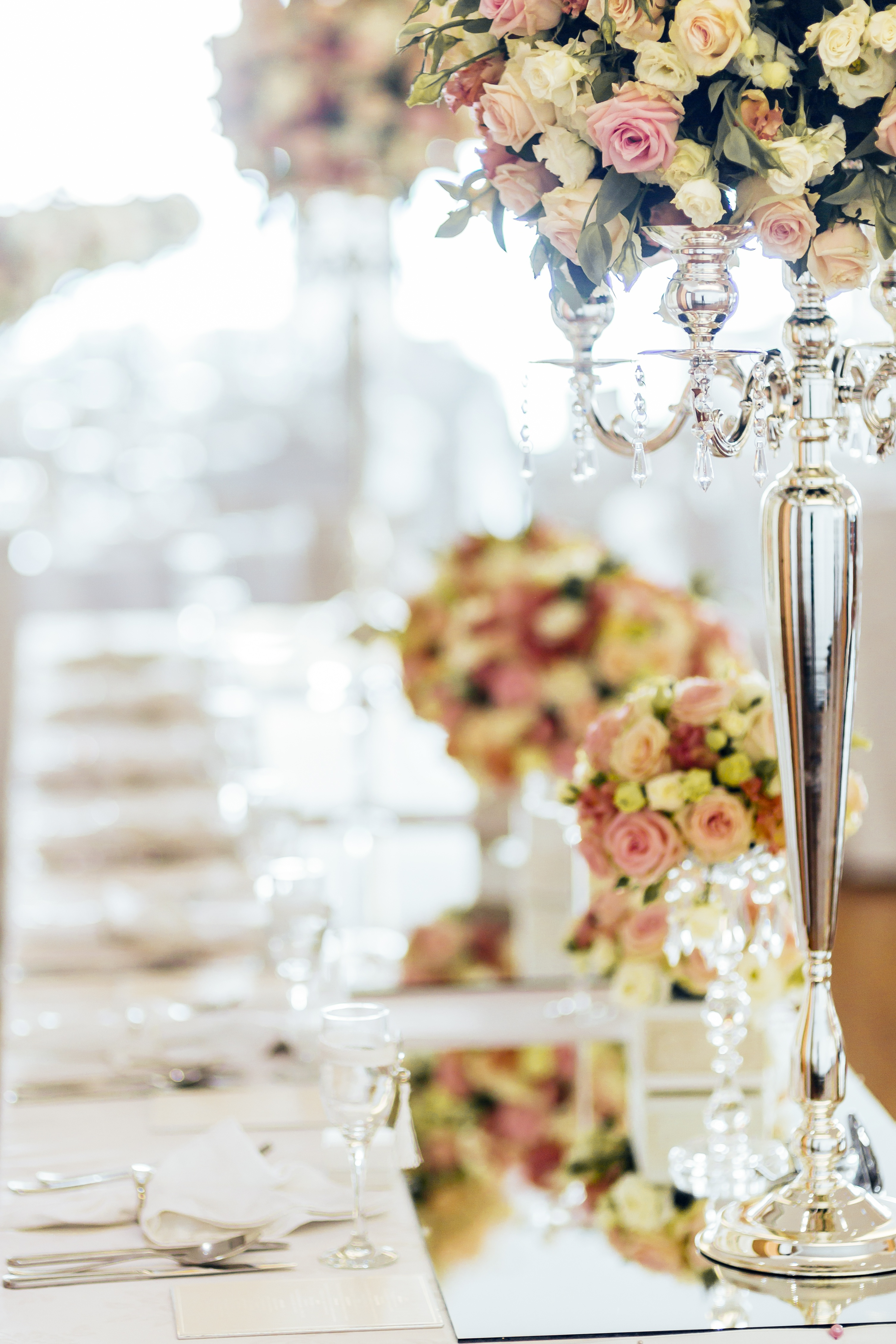 Crystal Candelabra with flower top - Sophia's Final Touch - Venue Styling - Weddings