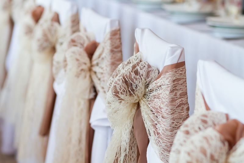 White Cotton Chair Cover with Hessian & Lace Sash  - Sophia's Final Touch - Venue Styling - Weddings & Event Decoration