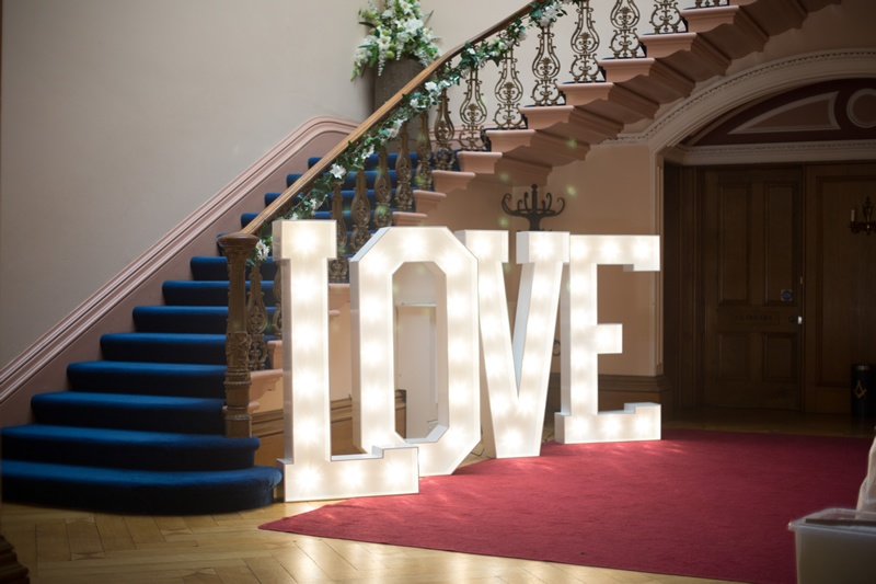 Giant 5Ft Light up LOVE Letters Tapton Hall - Sophia's Final Touch - Venue Styling - Weddings