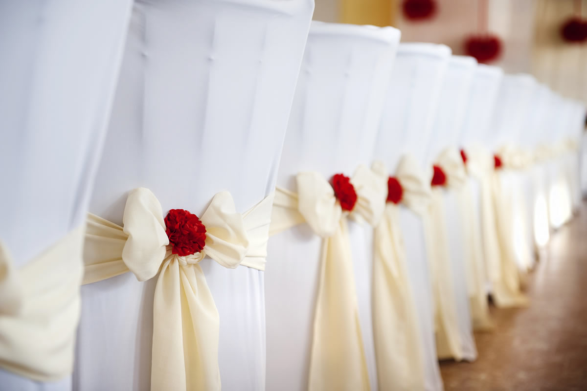 Lycra Chair Cover with Taffeta Cream Sash & Flower  - Sophia's Final Touch - Venue Styling - Weddings & Event Decoration