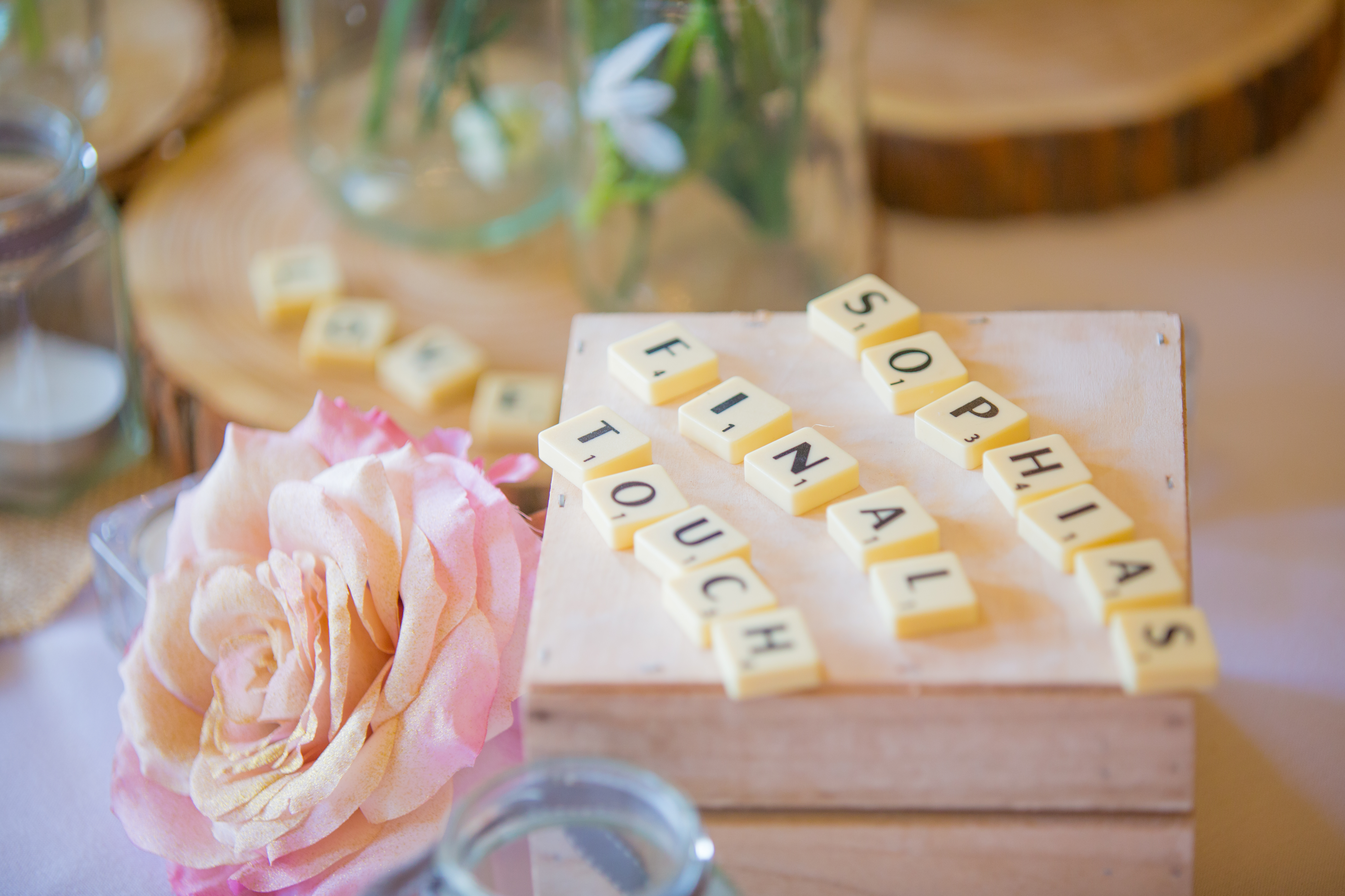 Sophia's Final Touch Scrabble - Sophia's Final Touch - Venue Styling - Weddings & Event Decoration