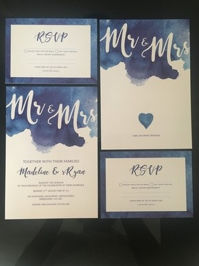 Bespoke Wedding Invites Water Colours - Wedding Venue Styling- Sophia's Final Touch