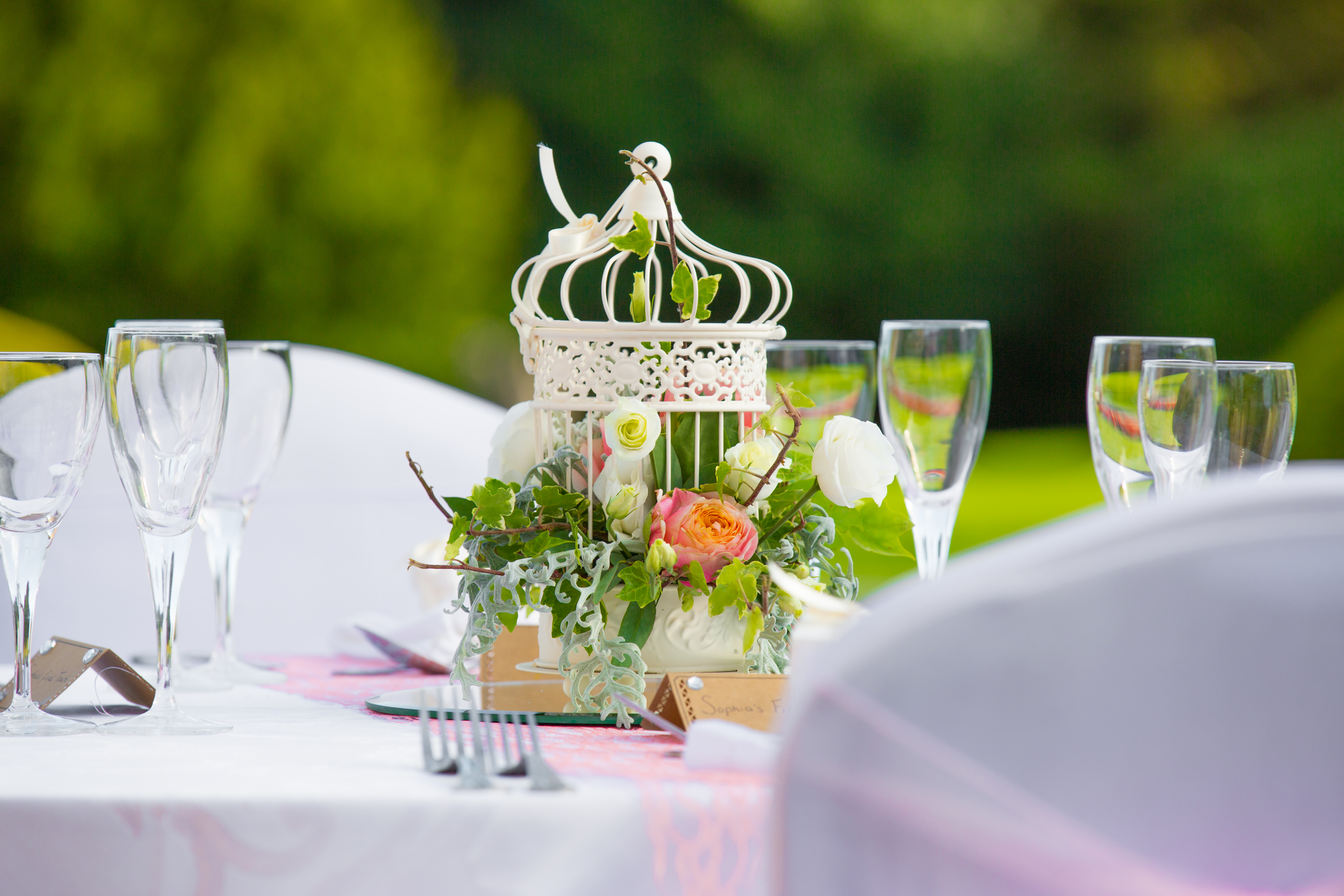 Birdcage with Flowers Escaping – Wedding Venue Styling- Sophia's Final Touch- Wedding & Event Decoration