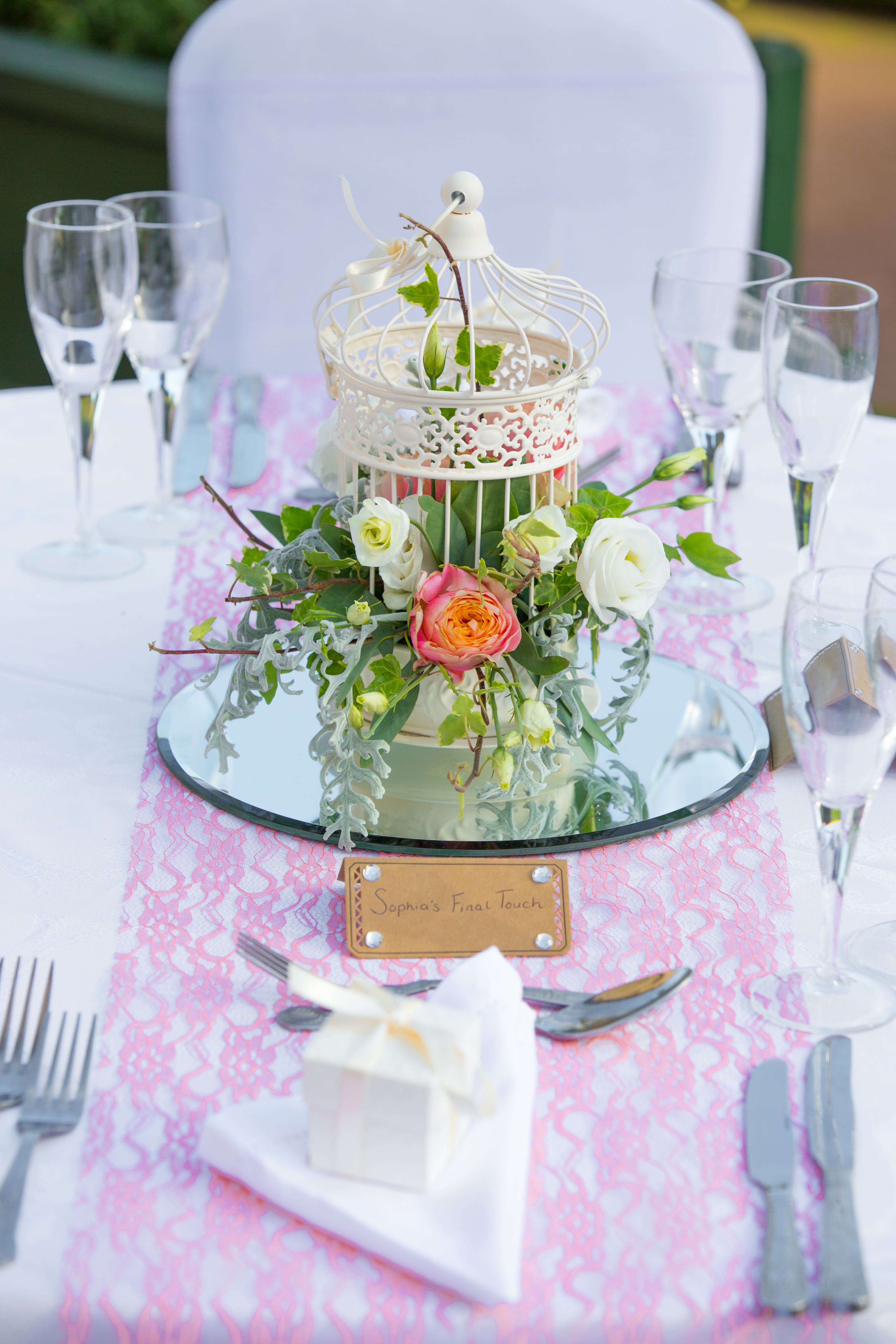 Birdcage with Fresh Flowers Escaping – Wedding Venue Styling- Sophia's Final Touch- Wedding & Event Decoration