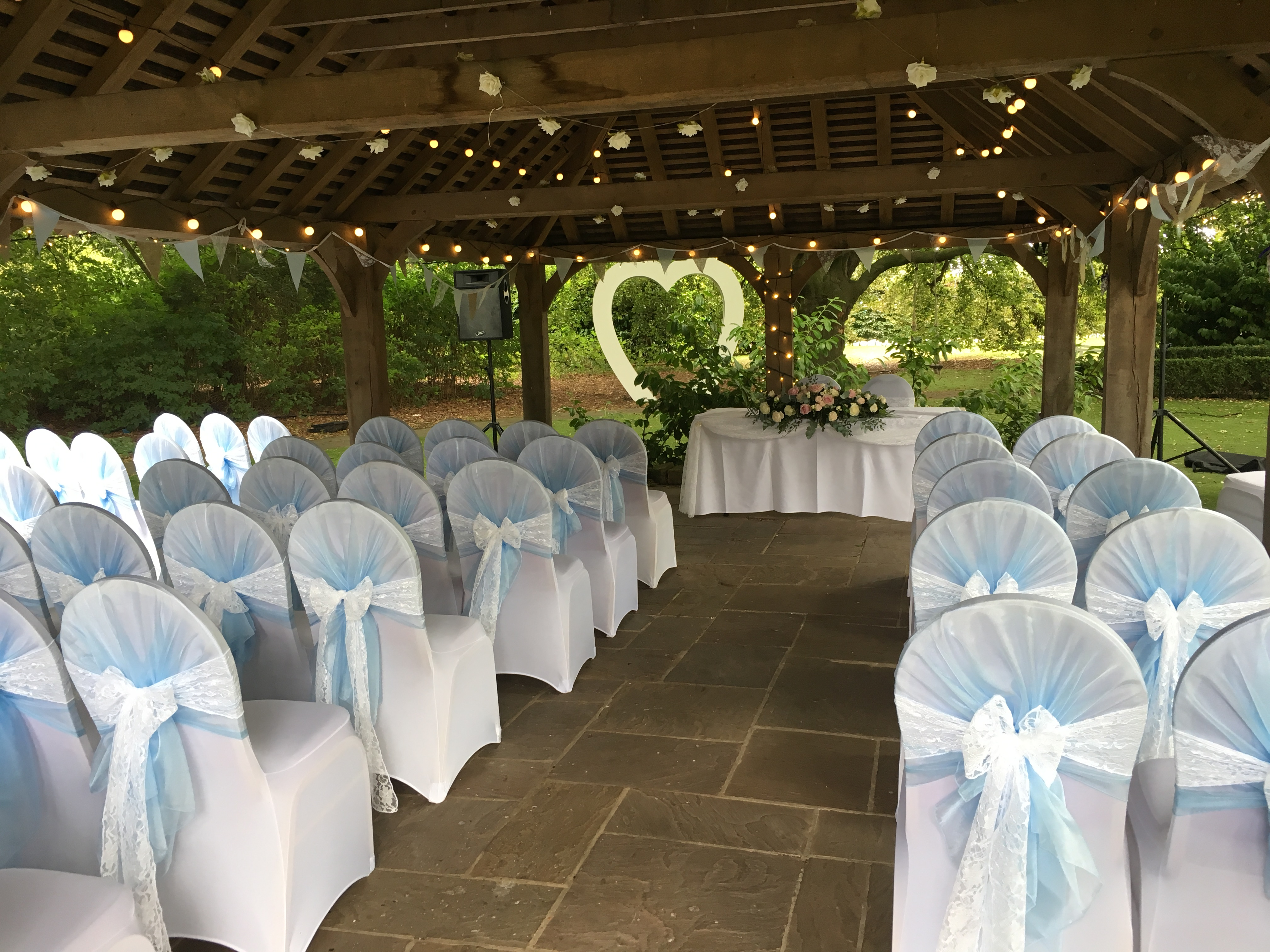 Blue Hoods with Lace Bow Sophia's Final Touch - Venue Styling - Weddings