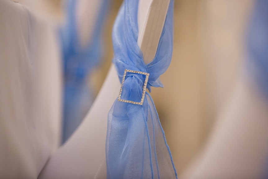 Blue Organza Sash with Diamante Buckle  - Sophia's Final Touch - Venue Styling - Weddings & Event Decoration