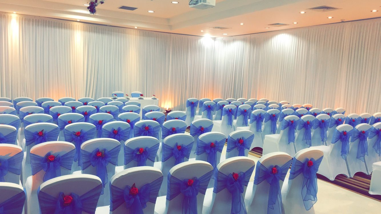 Blue Organza with Red Rose - St Pauls Mercure Sheffield Sophia's Final Touch - Venue Styling - Weddings