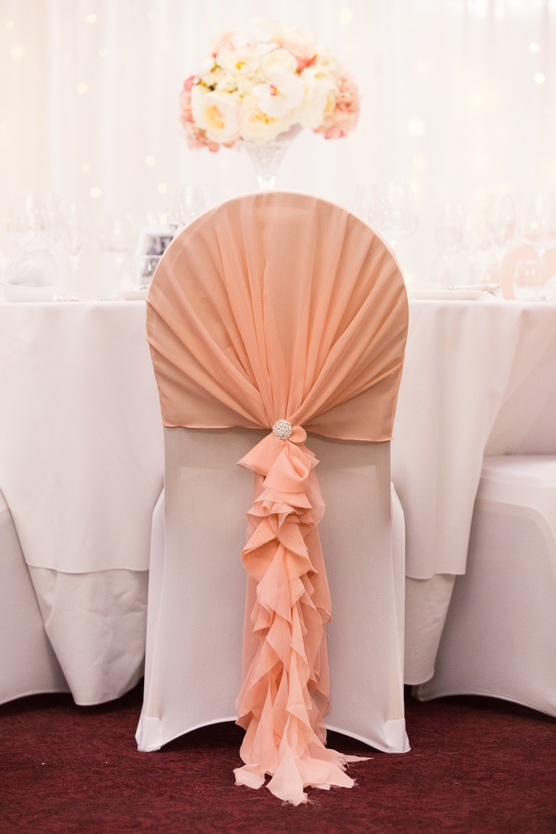 Blush Ruffle Chair Hoods on Lycra Chair Cover  - Sophia's Final Touch - Venue Styling - Weddings & Event Decoration