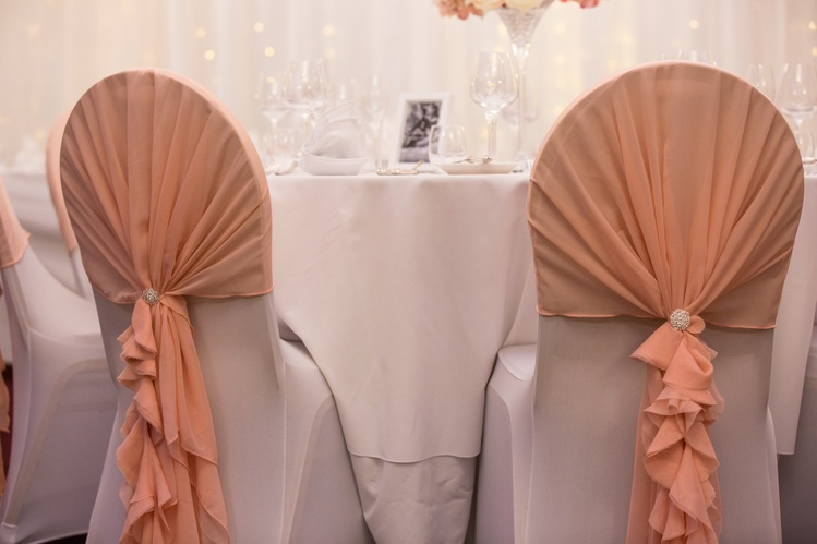 Blush Ruffle Chair Hoods with Diamante Brooch  - Sophia's Final Touch - Venue Styling - Weddings & Event Decoration