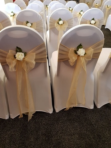 Chair Decor - White rose on Champagne Chair Sash - Wedding Venue Styling- Sophia's Final Touch