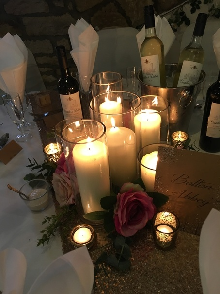 Chapel Candles in Cylinders with Berry & Blush Flowers – Wedding Venue Styling- Sophia's Final Touch