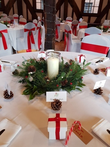 Christmas Reef With Chapel Candle – Wedding Venue Styling- Sophia's Final Touch
