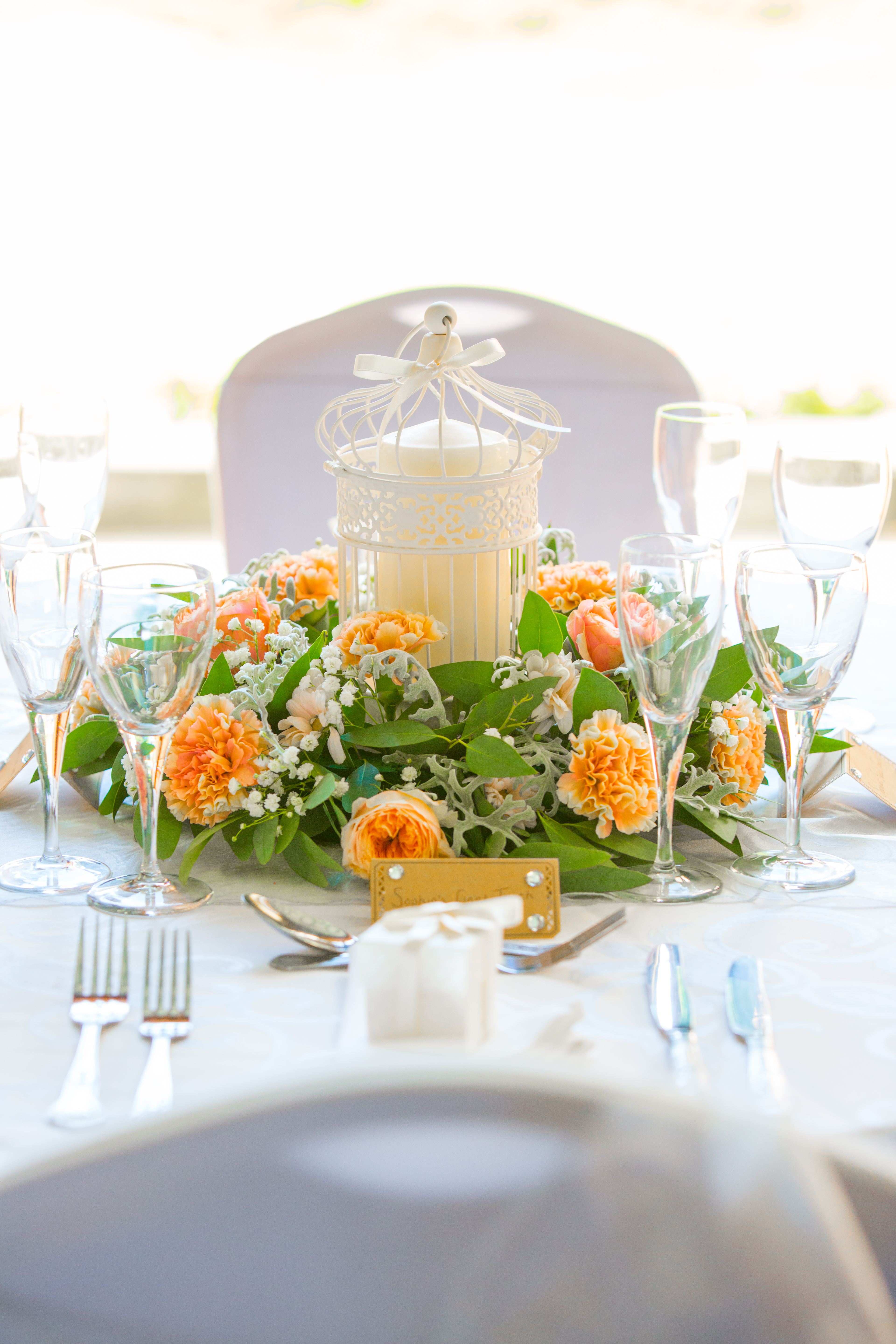 Cream Birdcage With Fresh Flower Reef & Candle – Wedding Venue Styling- Sophia's Final Touch- Wedding & Event Decoration