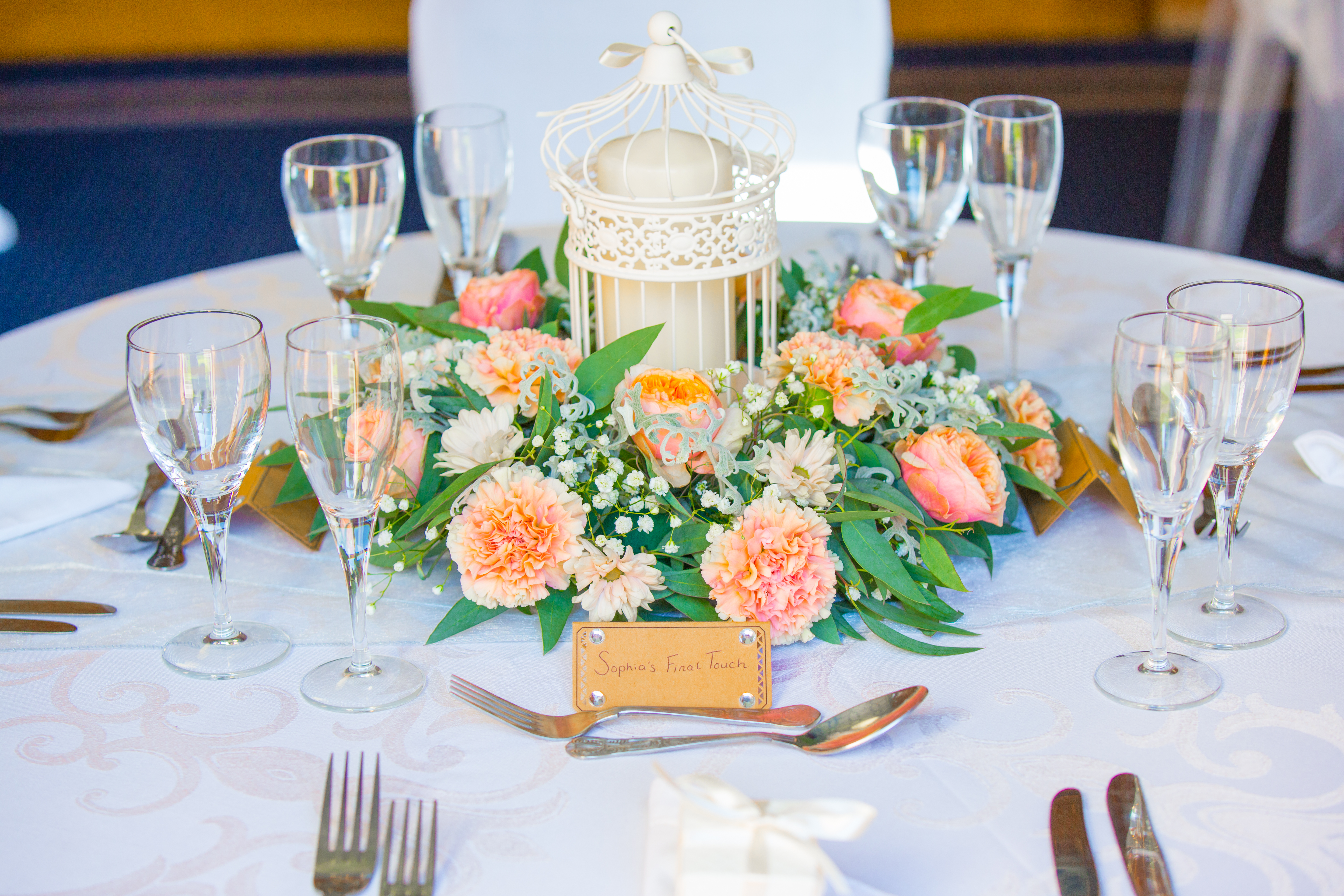 Cream Birdcage With Fresh Flower Reef – Wedding Venue Styling- Sophia's Final Touch- Wedding & Event Decoration