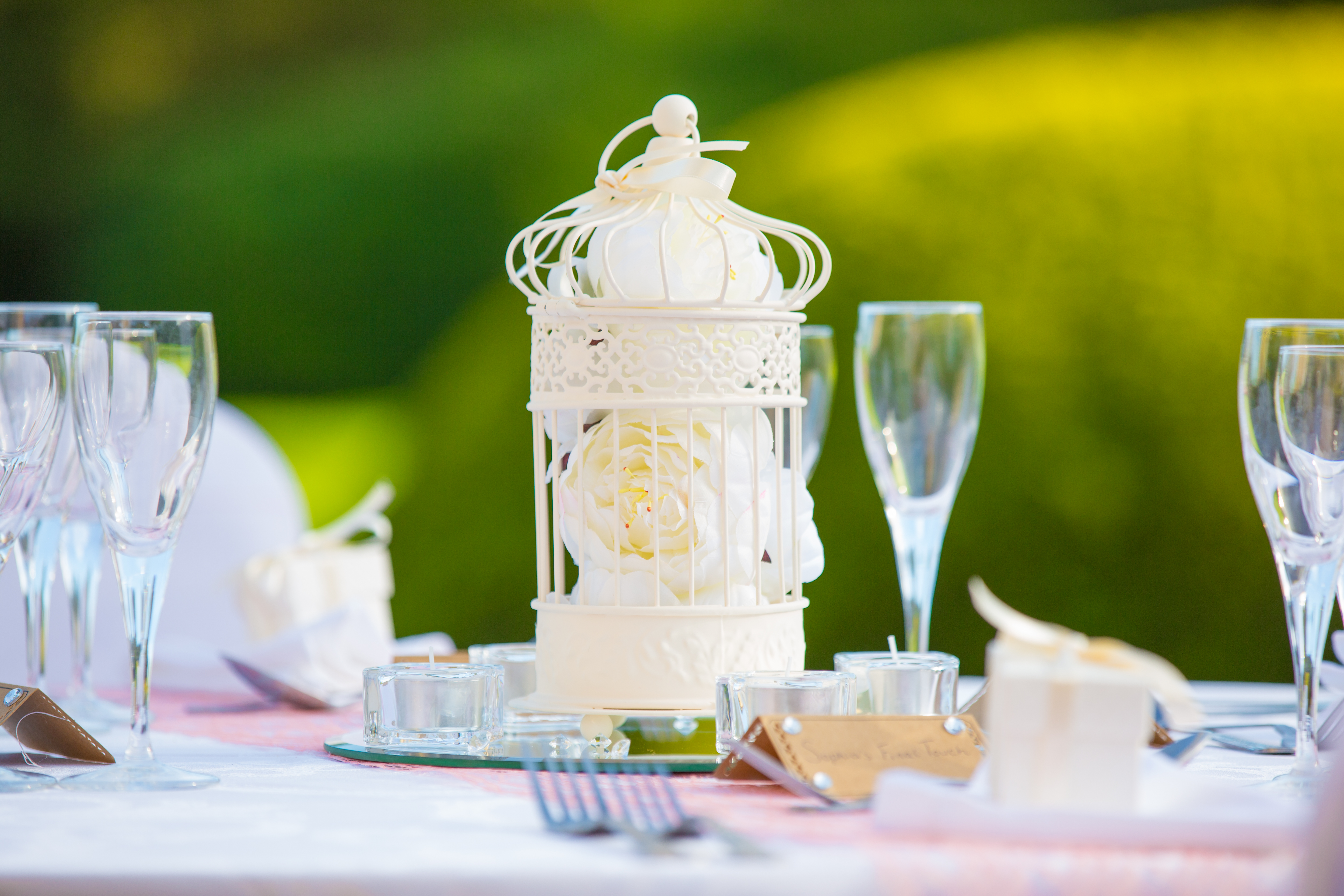 Cream Birdcage With White Flowers – Wedding Venue Styling- Sophia's Final Touch- Wedding & Event Decoration