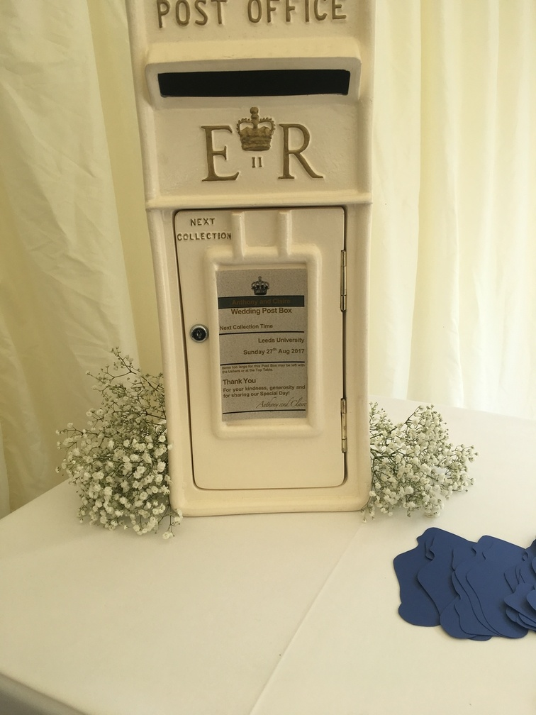 Cream and Gold Royal Mail, Lockable Post Box - Wedding Venue Styling- Sophia's Final Touch