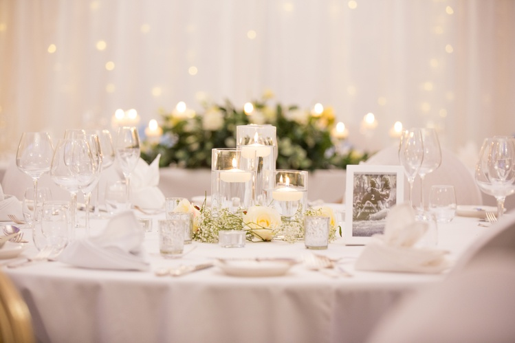 Cylinder Floating Candles With Gypsophila & Roses   - Sophia's Final Touch - Venue Styling - Weddings & Event Decoration