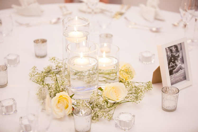 Cylinder Vase With Gypsophila & Roses  - Sophia's Final Touch - Venue Styling - Weddings & Event Decoration