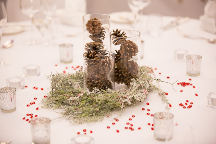 Cylinder Vase with Cones Winter Theme   - Sophia's Final Touch - Venue Styling - Weddings & Event Decoration