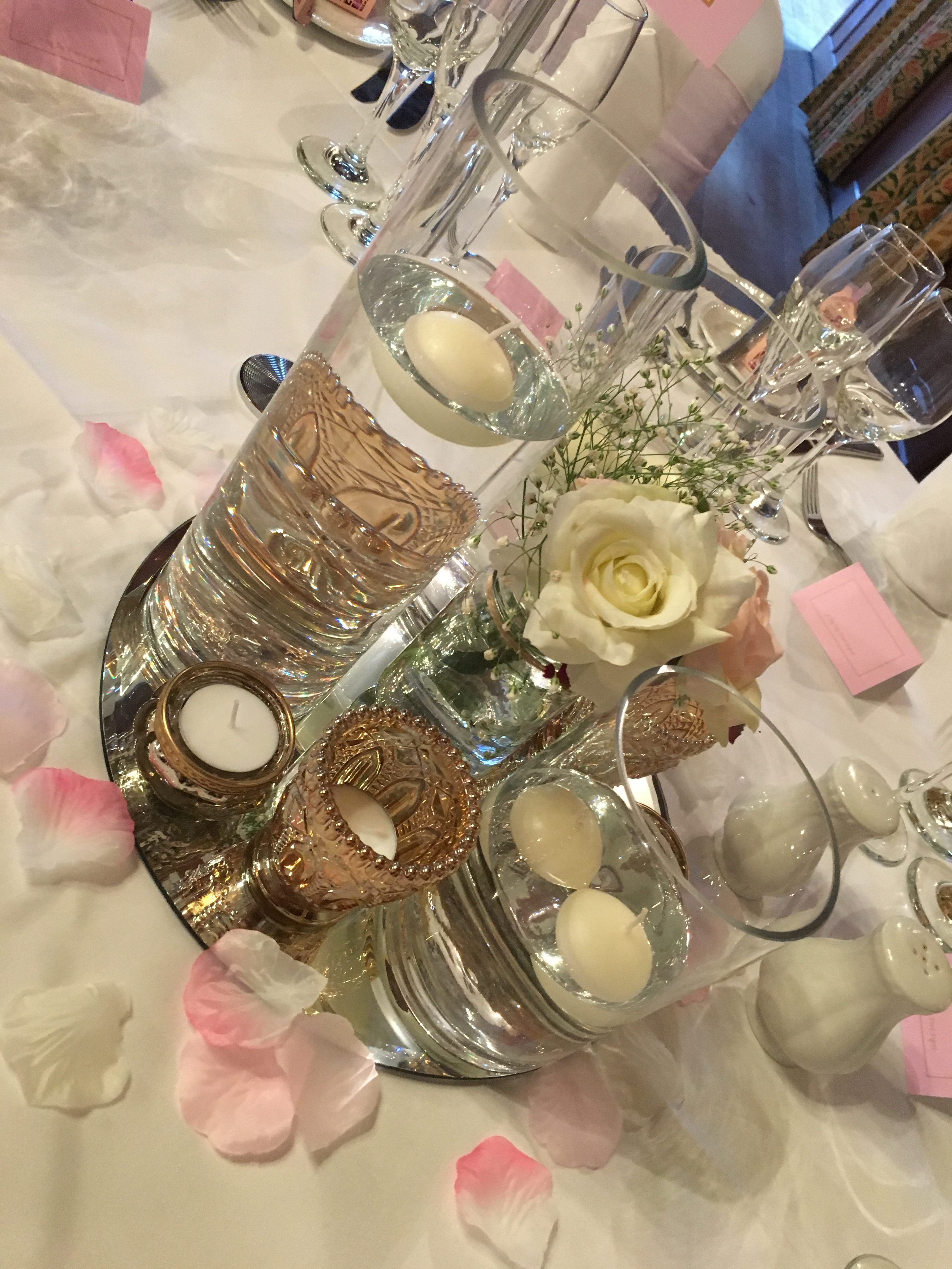 Cylinder Vase with Floating Candles - Pink & Gold Sophia's Final Touch - Venue Styling - Weddings