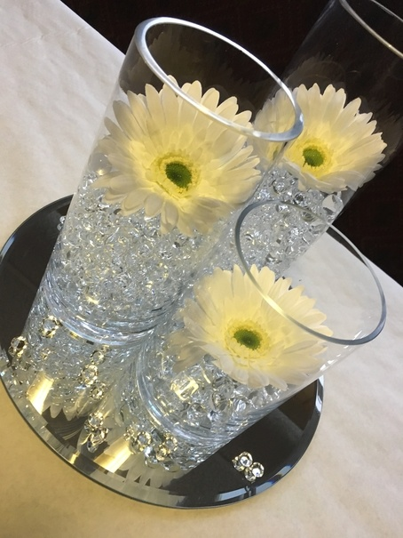 Cylinder Vase with Floating Flowers – Wedding Venue Styling- Sophia's Final Touch