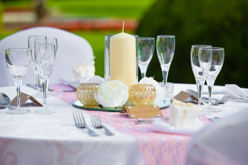 Cylinder Vase with Gold Tealights  - Sophia's Final Touch - Venue Styling - Weddings & Event Decoration