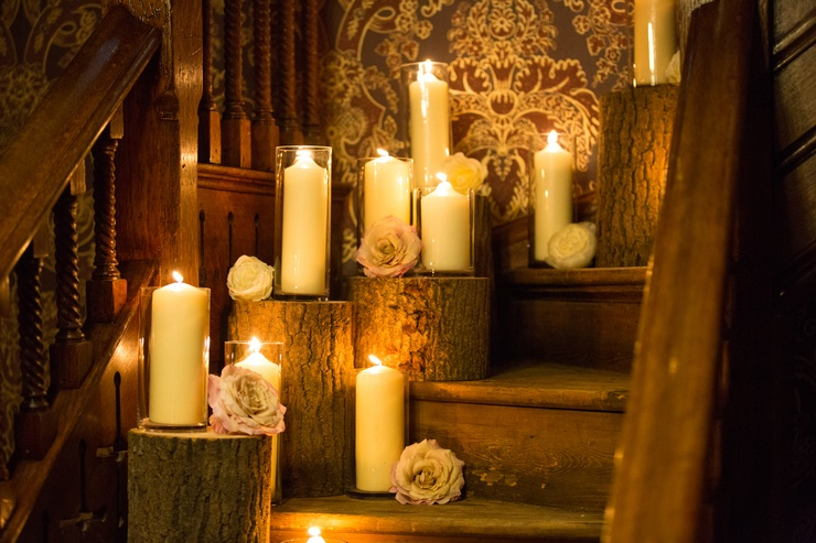 Cylinder Vases on Wood Logs - Rossington Hall  - Sophia's Final Touch - Venue Styling - Weddings & Event Decoration