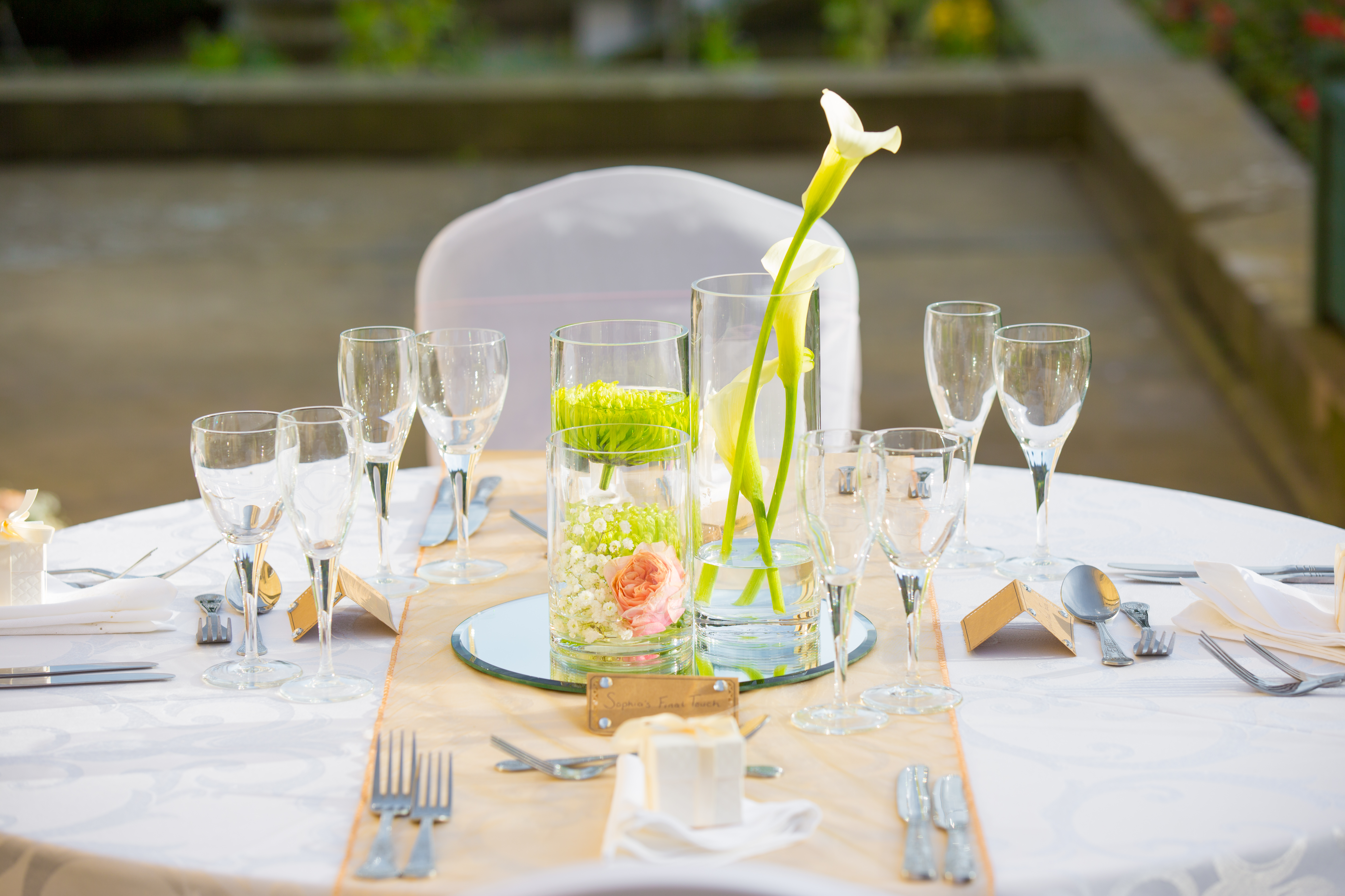 Cylinder Vases with Flowers Wortley Hall  - Sophia's Final Touch - Venue Styling - Weddings & Event Decoration