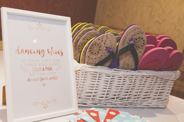 Dancing Feet Flip Flop Hamper - Wedding Venue Styling- Sophia's Final Touch