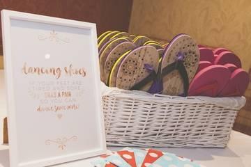 Dancing Feet Flip Flop Hamper - Wedding Venue Styling- Sophia's Final Touch