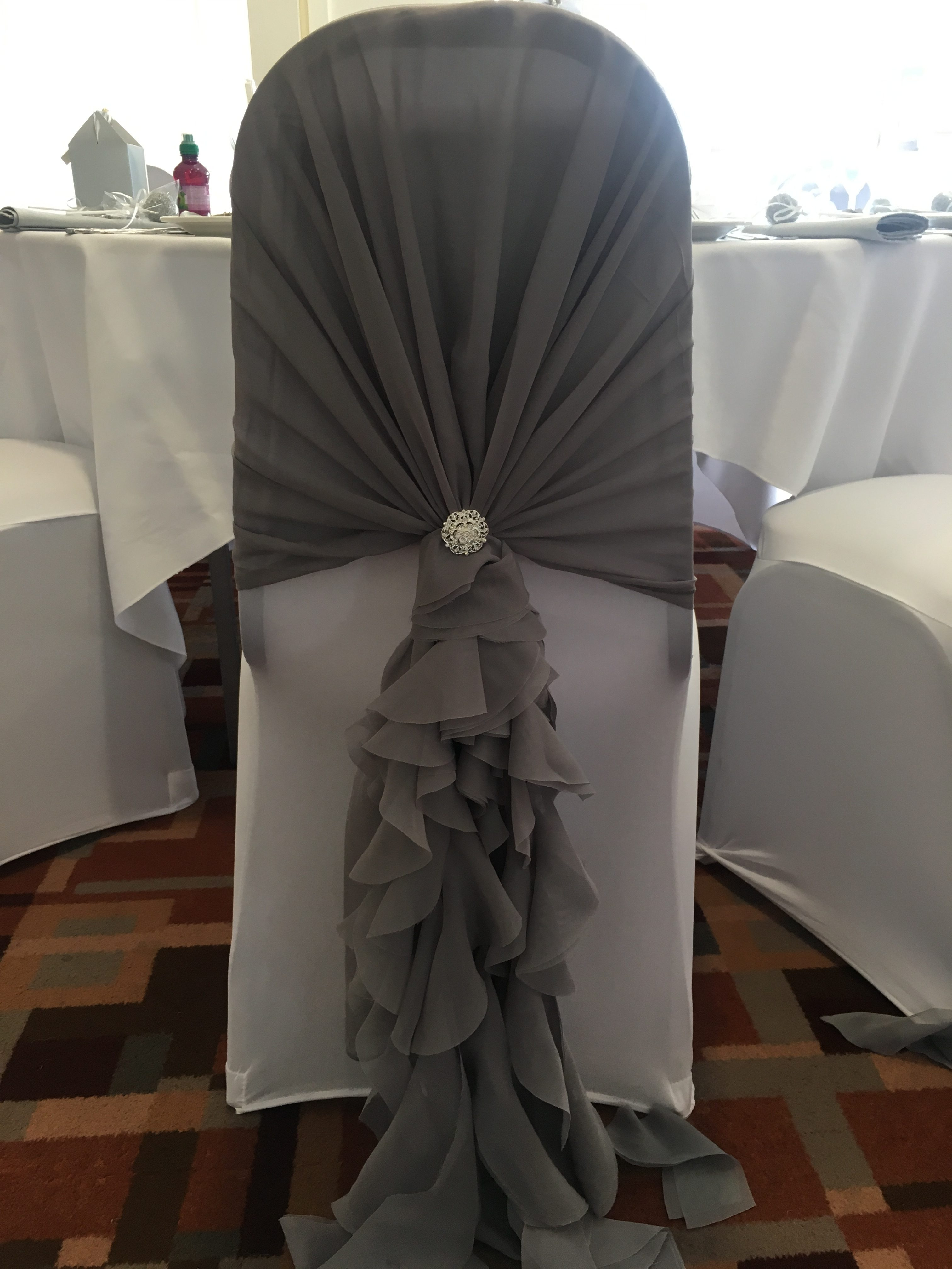 Dark Silver Ruffle Hoods with Silver Brooch - Thornhurst Manor Sophia's Final Touch - Venue Styling - Weddings