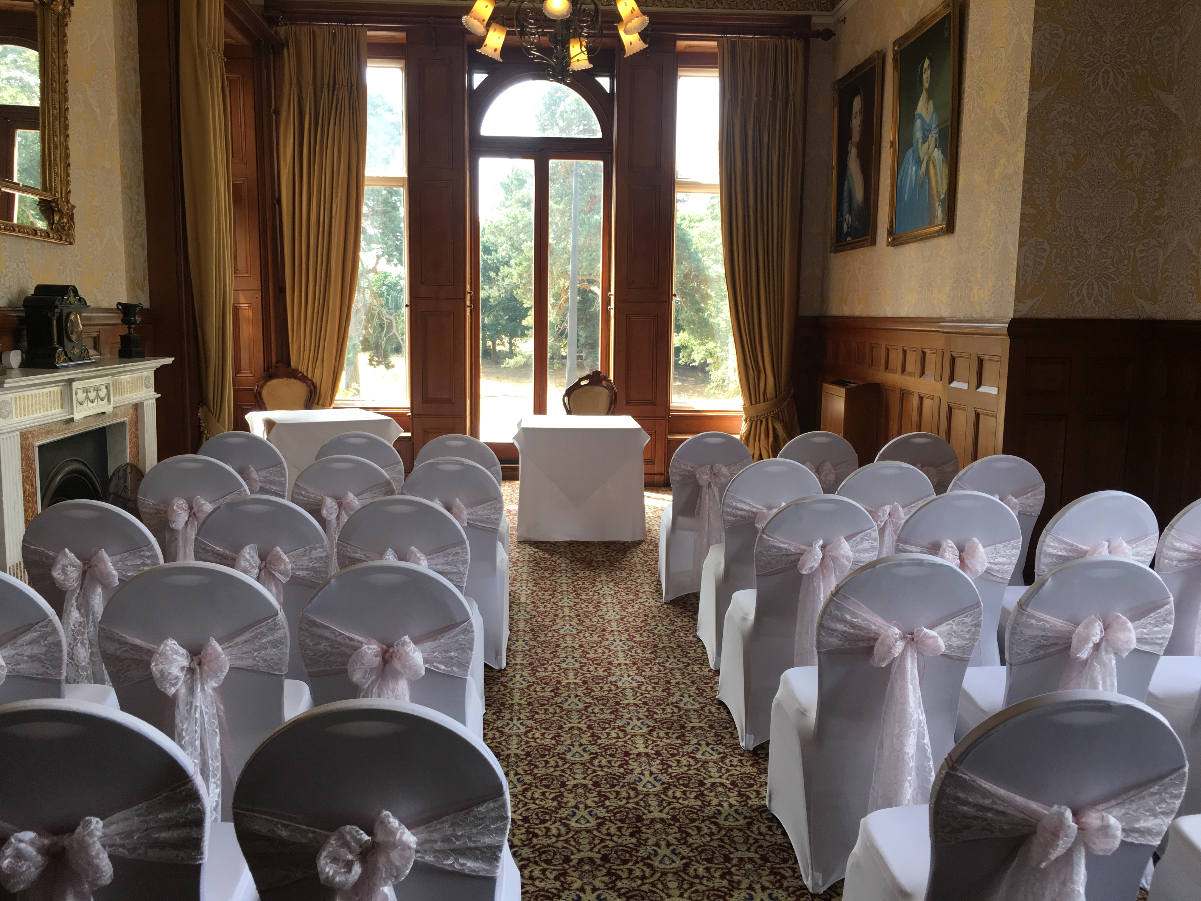 Dusky Pink Organza with Lace Sash - Rossington Hall Sophia's Final Touch - Venue Styling - Weddings
