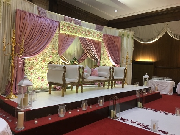 Flower Stage with Gold sofa & Chairs - Wedding Venue Styling- Sophia's Final Touch
