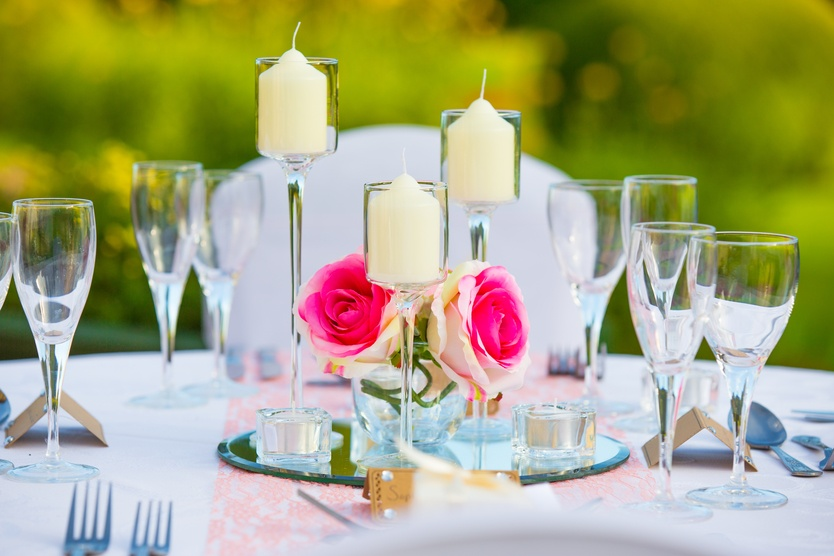 Glass Candle sticks with Flowers – Wedding Venue Styling- Sophia's Final Touch- Wedding & Event Decoration