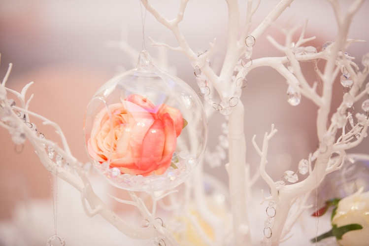 Glass Hanging Balls with Flowers Close up– Wedding Venue Styling- Sophia's Final Touch- Wedding & Event Decoration