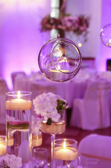 Glass sphere with candle inside. – Wedding Venue Styling- Sophia's Final Touch- Wedding & Event Decoration
