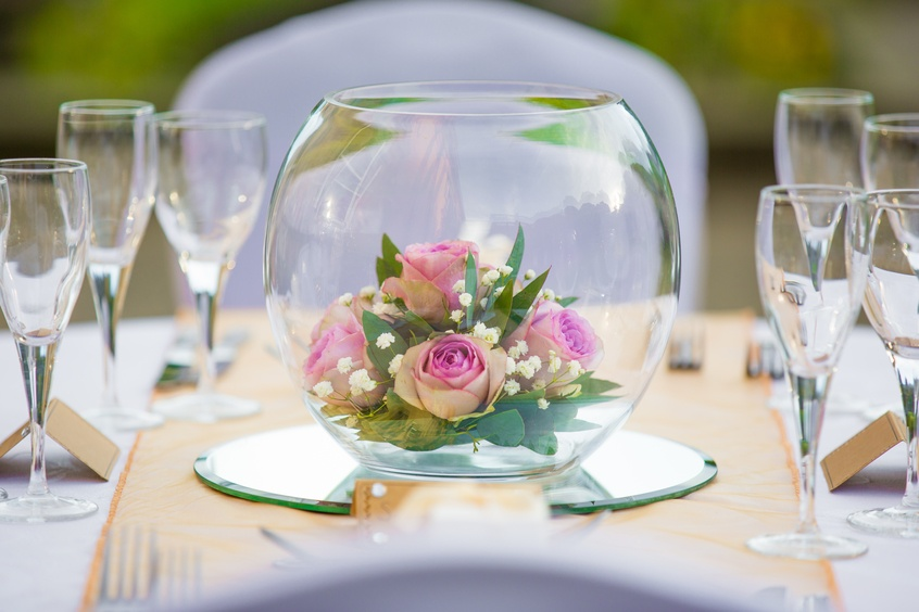 Gold Fish Bowl With Roses – Wedding Venue Styling- Sophia's Final Touch- Wedding & Event Decoration