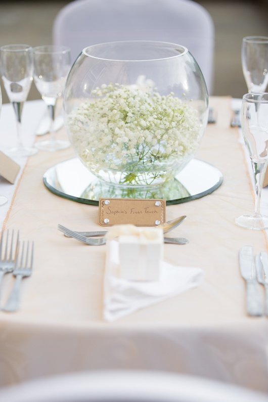 Gold Fish Bowl with Gypsophila – Wedding Venue Styling- Sophia's Final Touch- Wedding & Event Decoration